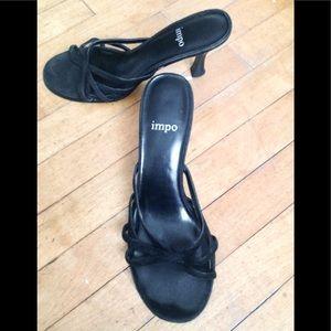 Black Suede Strappy Toe Kitten Heel Shoes, Sz. 6.5
